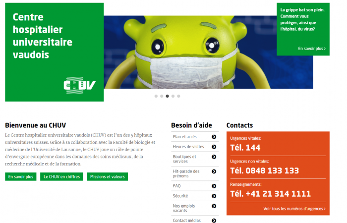Screen of main website of CHUV Lausanne showing emergency numbers and addressing patients in need by providing all patient-relevant info first