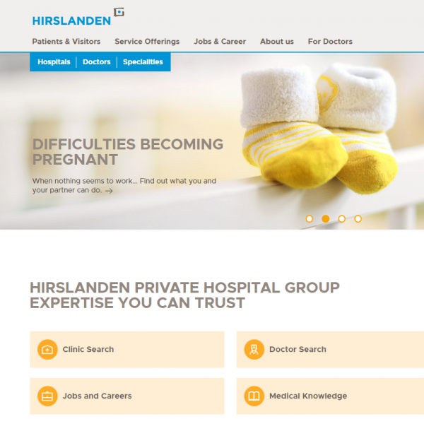 patient-centric home screen of Hirslanden Hospital Website showing text: Difficulties becoming pregnant and 2 babyshoes
