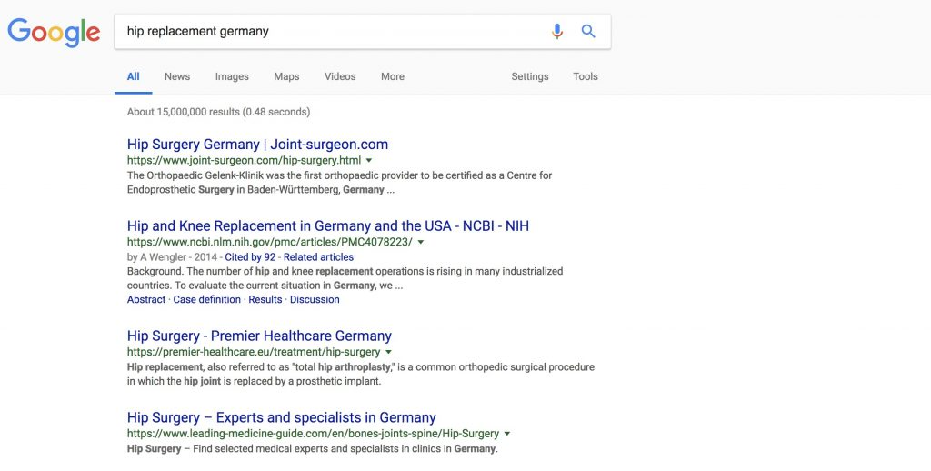 Google Ranking of Gelenk Klinik