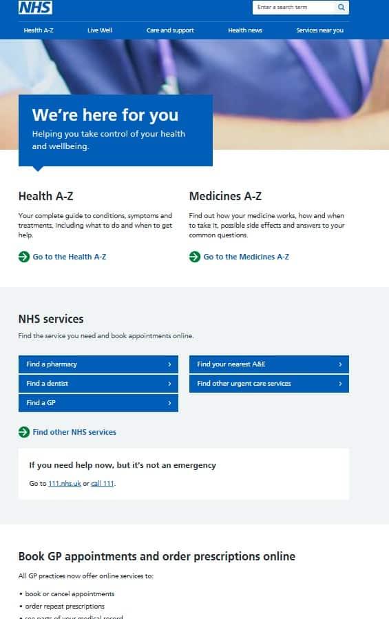 National Health System UK online portal