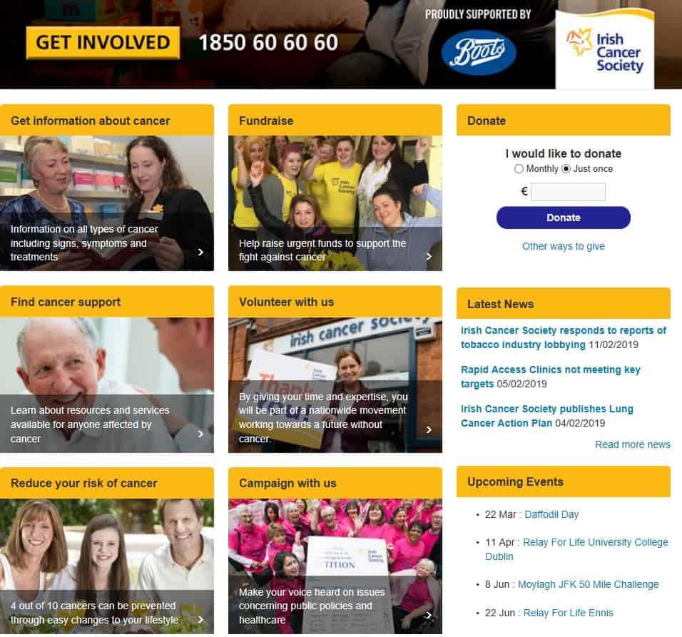 printscreen of website Irish Cancer Society