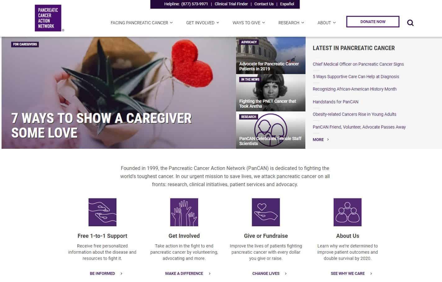 website homescreen of pancreatic cancer patients organisation