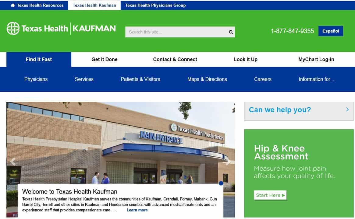 Screenshot of healthcare CTAs of texas health care