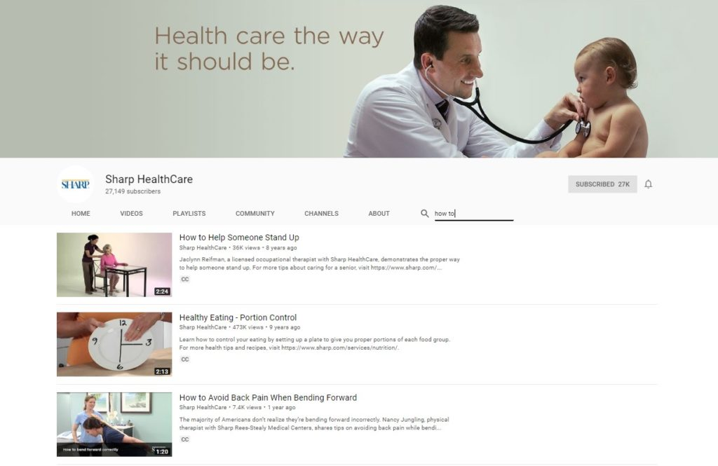 youtube channel sharp healthcare screenshot