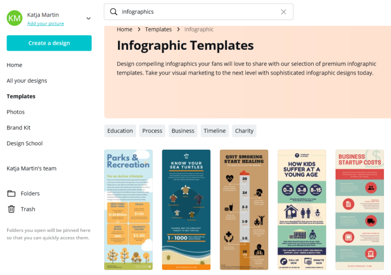 Screenshot of Canva Infographic Template library