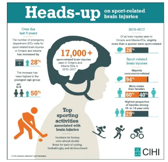 Example Infographic displaying impact of sport-related head injuries