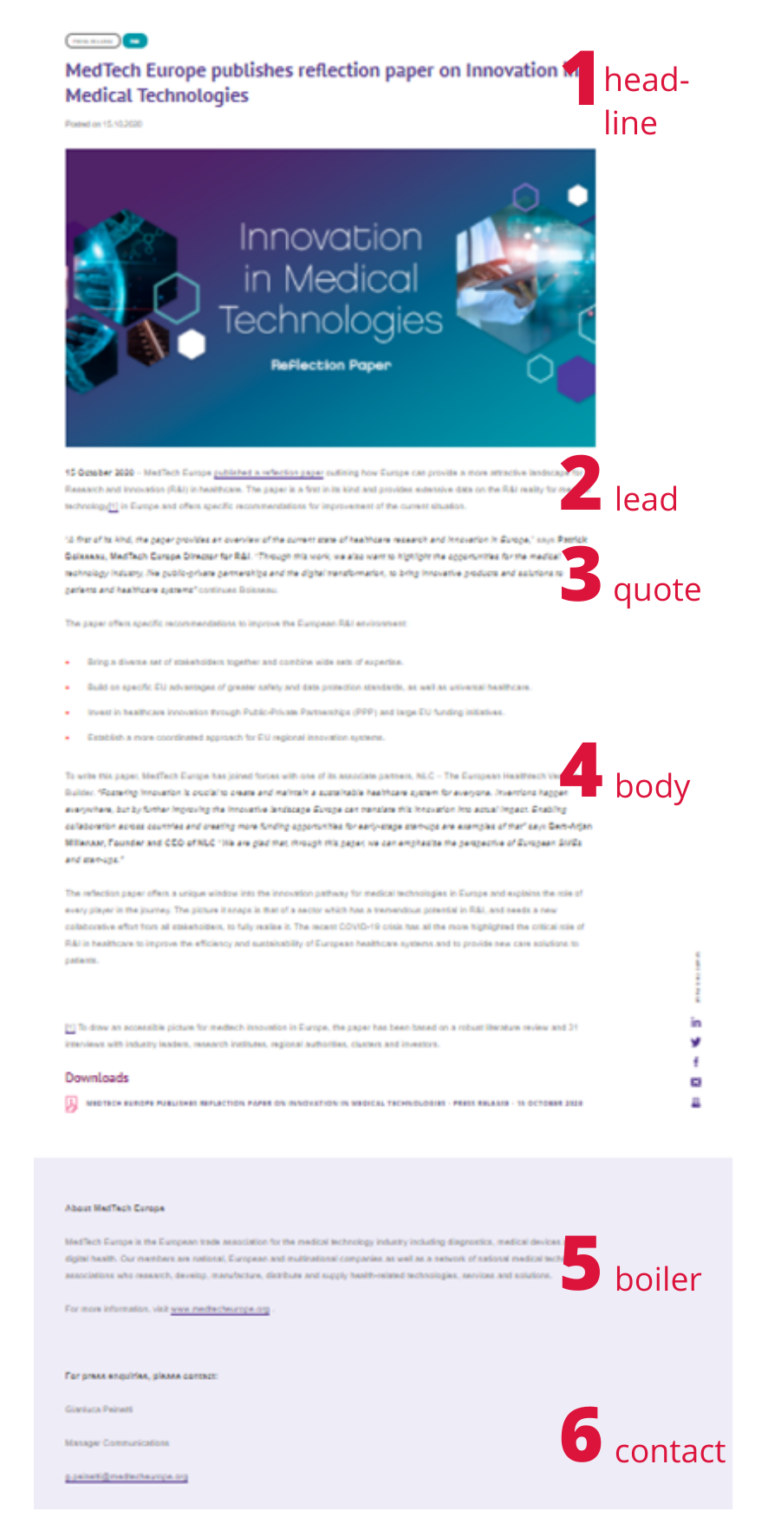 Example Press Release MedTech Europe
