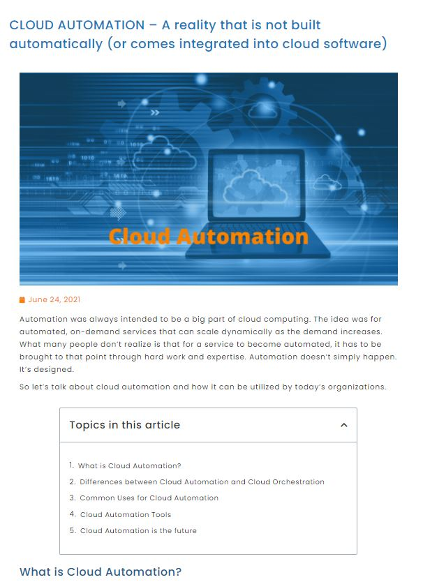 Blog Cloud Automation
